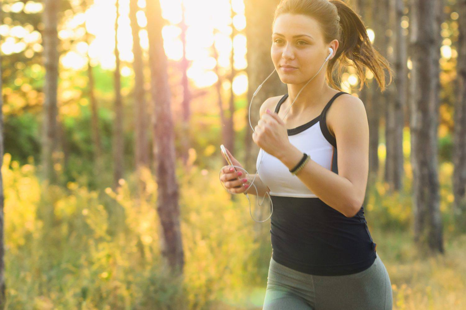 Attractive girl jogging.
