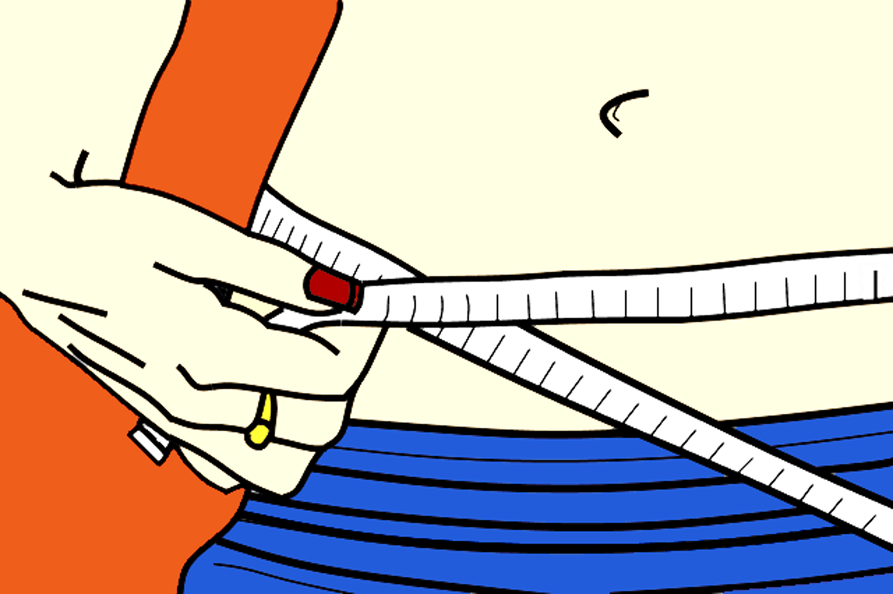 Measuring belly fat drawing