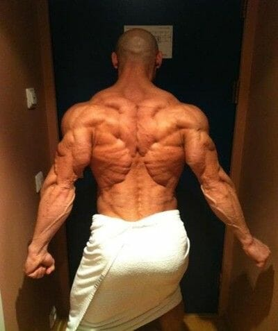 Man showing his back muscle