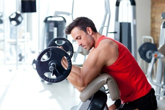Man doing biceps workout