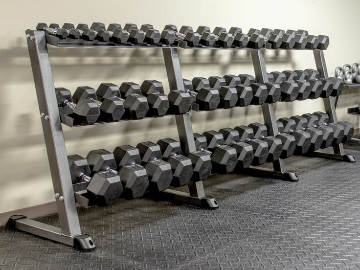 Dumbbell rack in a gym