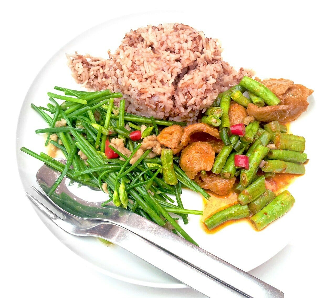 Rice and veggies, and add some protein like chicken and you're set.