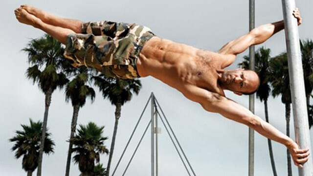 Jason Statham doing a human flag.