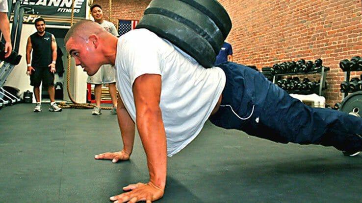 man doing drop sets workout