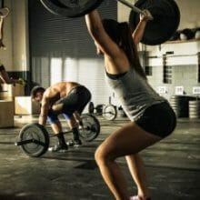 Woman doing workout in gym.