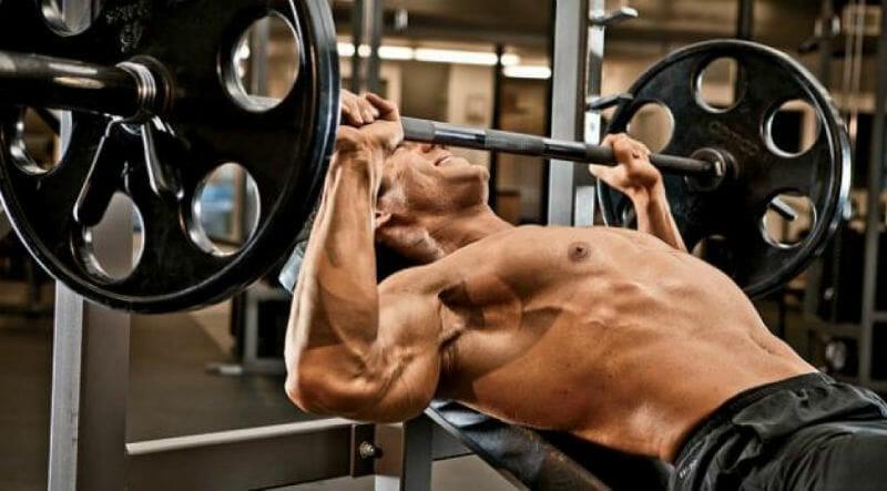Man doing upper chest exercises
