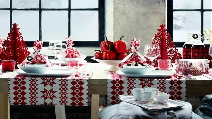 Red and white Christmas table setup