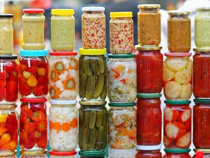 A couple of jars with fermented vegetables
