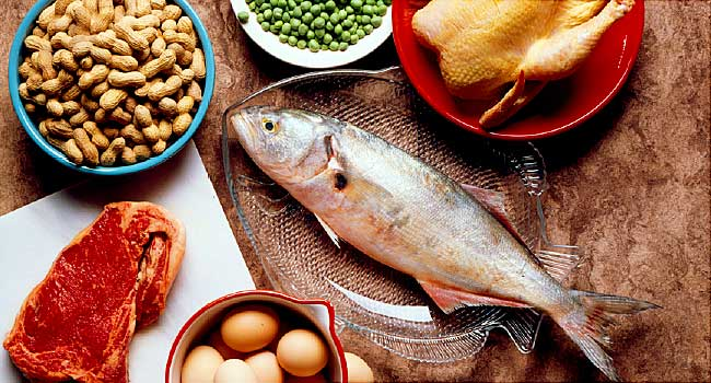 Foods high in protein on the table
