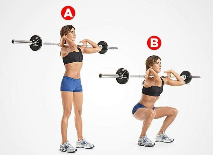 Woman showing how to perform front squats