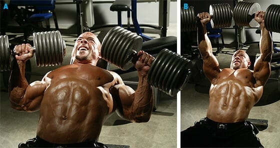 inclined dumbbell chest press