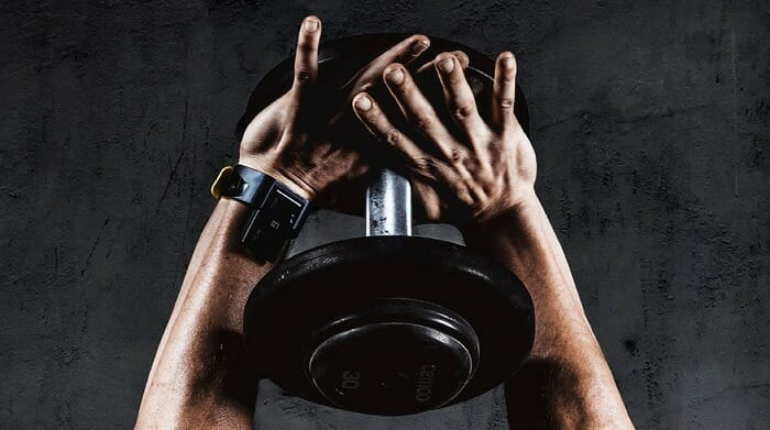 Guy holding weight with both hands