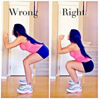 Woman showing how to perform squats