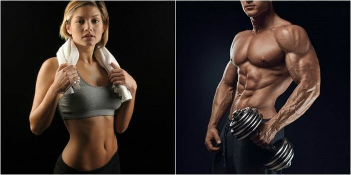Girl holding a towel and guy holding weights
