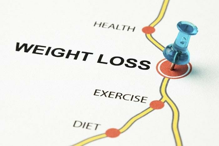 Weight loss map with blue pin
