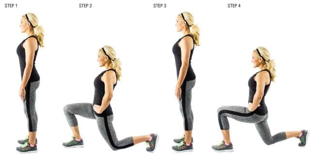 Woman showing how to perform walking lunges