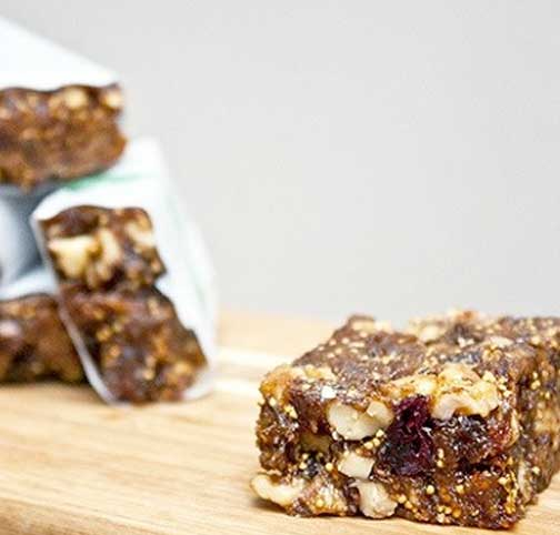 Energy bars on a cutting board