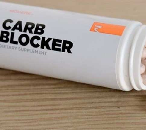 Bottle of carb blockers on wooden surface