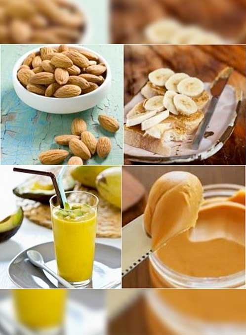 Weight gainers food like almonds, bananas, avocado, and peanut butter