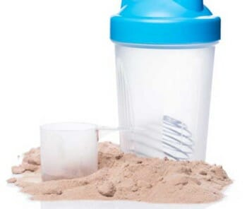 whey powder and shaker