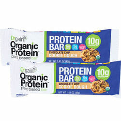 Orgain Organic peanut butter and chocolate flavors