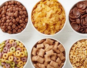 Different types of processed foods in serving bowls