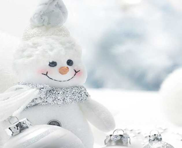 Pretty little snowman made of Christmas decoration