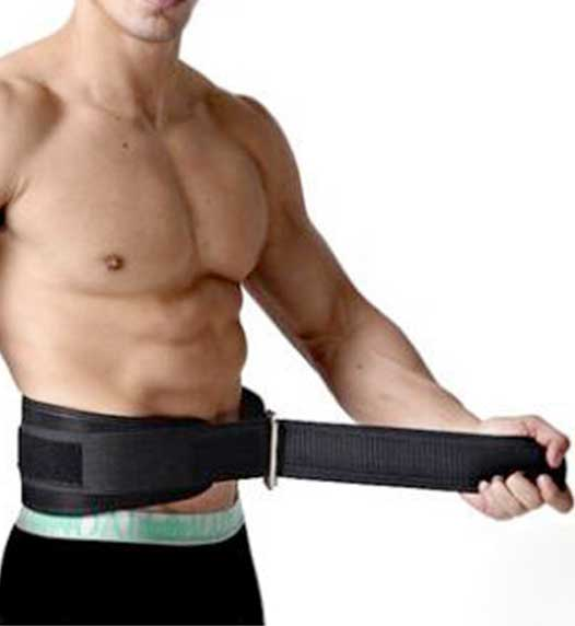 black weightlifting belt worn by a bodybuilder
