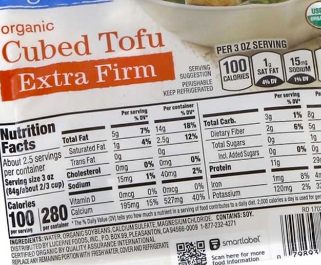 nutrition facts of tofu