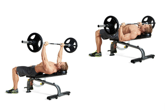 inclined barbell bench press
