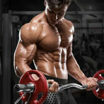 muscled man working out