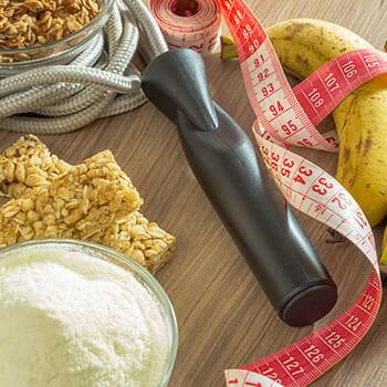 rope, banana, grain bars, and measuring tape