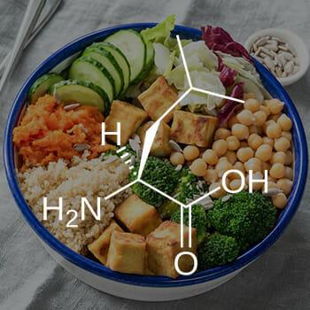 bowl of veggies, chickpeas, rice, and tofu
