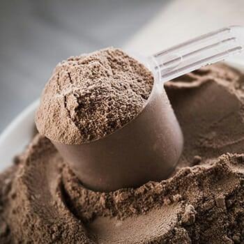 brown powder in scoop