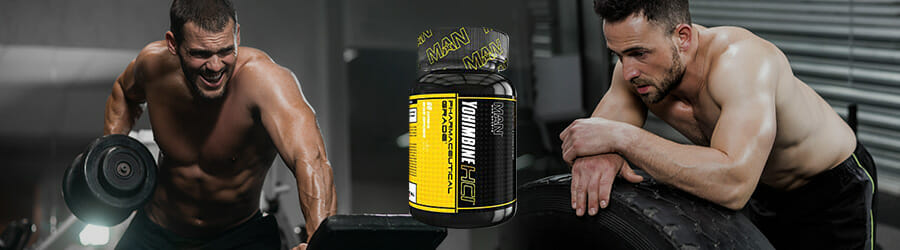 Men working Out with yohimbine supplement in the middle