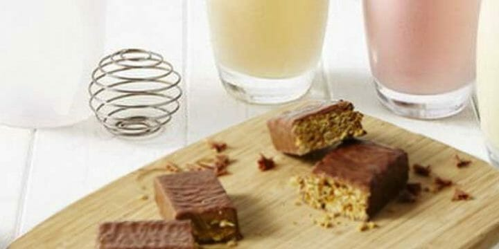 protein bar and shake