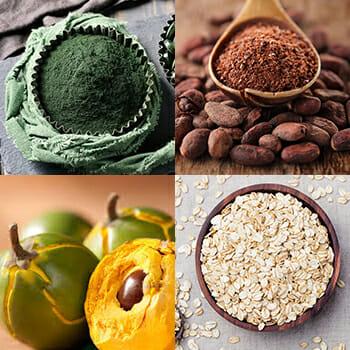 Bag of Maca Powder, Coco In Spoon, Lucuma Fruit, Bowl of Ots