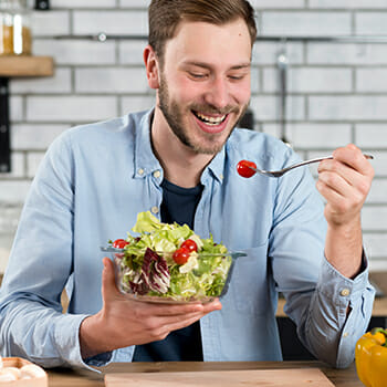 man eating healty food