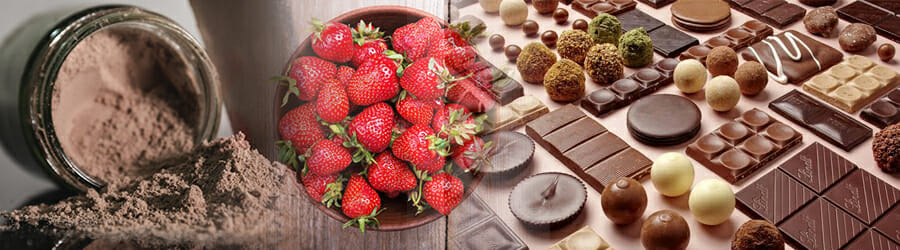 Protein Powder, strawberries, range of chocolates
