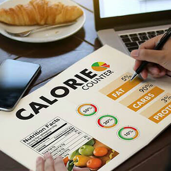 booklet with `calorie counter` text written on top