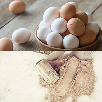 eggs on table, protein powder