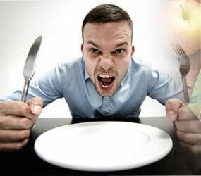 man craving for food