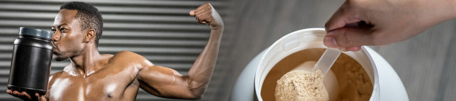 man showing off his biceps while kissing his protein powder container