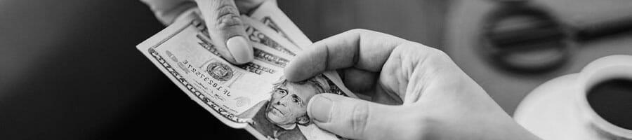 woman receiving money cash