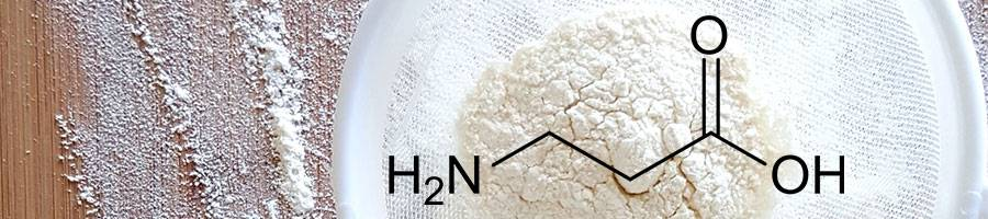 protein powder in white sieve, beta alanine molecule