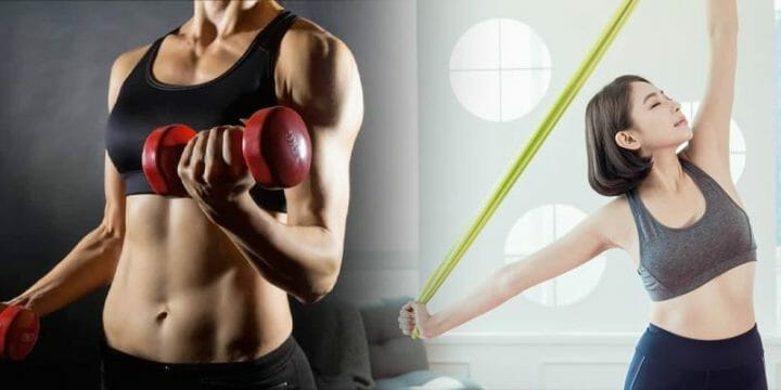 resistance band vs dumbells featured