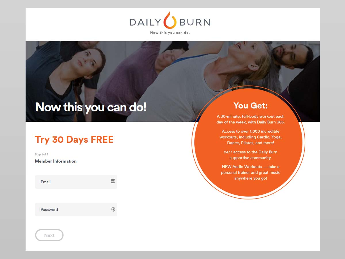 daily burn sign up page