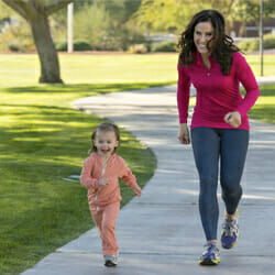 parent and child jogging