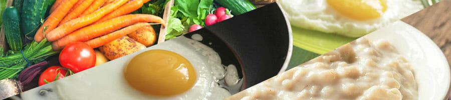 vegetables, eggs, oatmeal