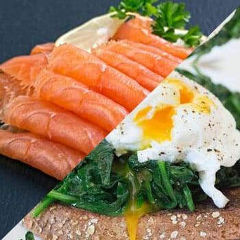 smoked salmon, egg spinach